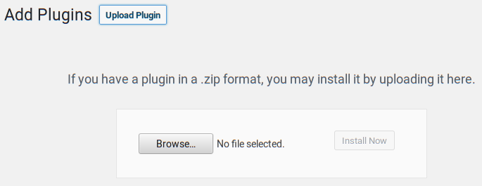 Uploading a plugin in the WordPress admin