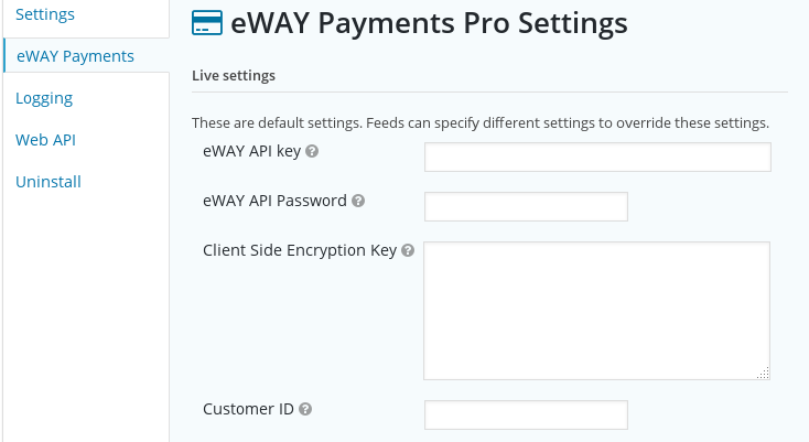 Gravity Forms eWAY Pro add-on settings