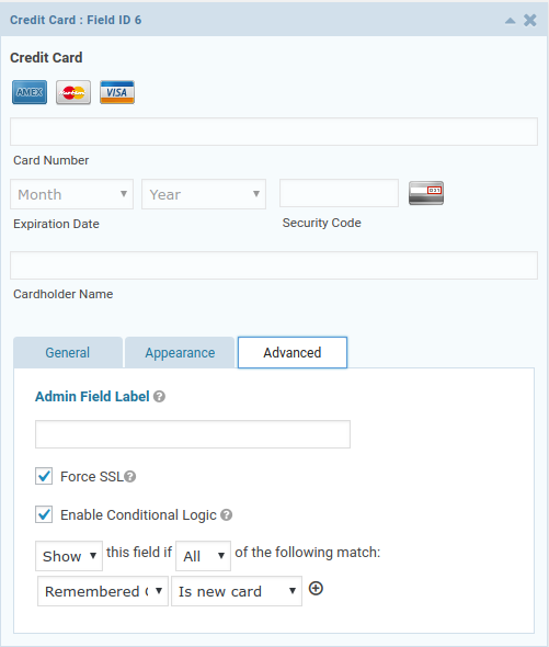 Credit Card field with conditional logic on Customer Tokens field