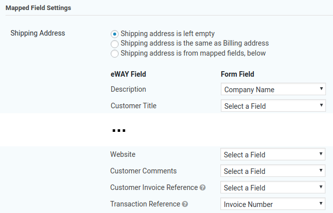 Map a field to the Transaction Reference in eWAY